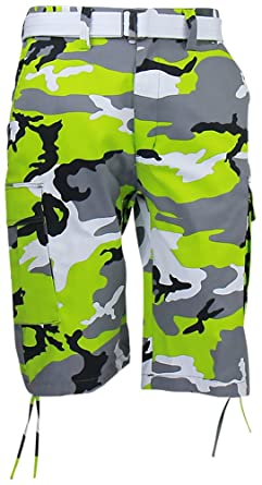 07e917a0e6 Regal Wear Mens Camouflage Cargo Shorts with Belt, Camo Lime, 42:  Amazon.co.uk: Clothing