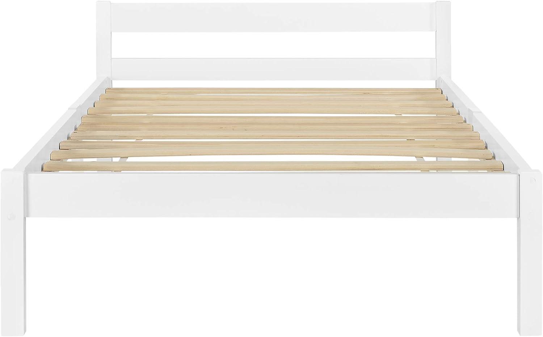 Cadre de Lit Solide Design /à Sommier /à Lattes Lit Simple Styl/é en Pin et Bois Stratifi/é Capacit/é de Charge 100 kg 100 x 200 cm Blanc