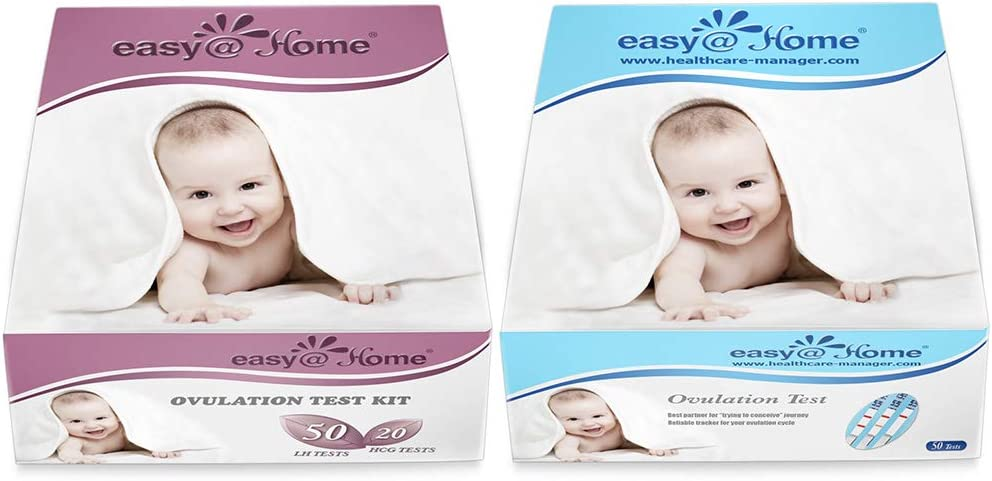 Easy@Home Ovulation Test and Pregnancy Test Kit, 50LH+20HCG Strips Combo+50 LH Strips