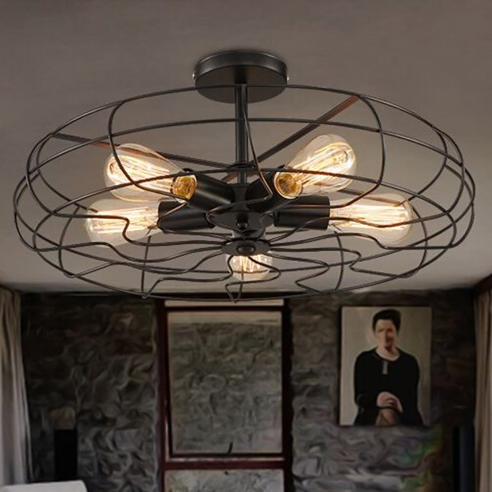 TOYM US American Village Industrial Wind Black Paint Iron Ceiling Mounts Creative Creative Retro Fan Aisle Ceiling Lamps ( Color : Large ) by Ceiling Light (Image #4)