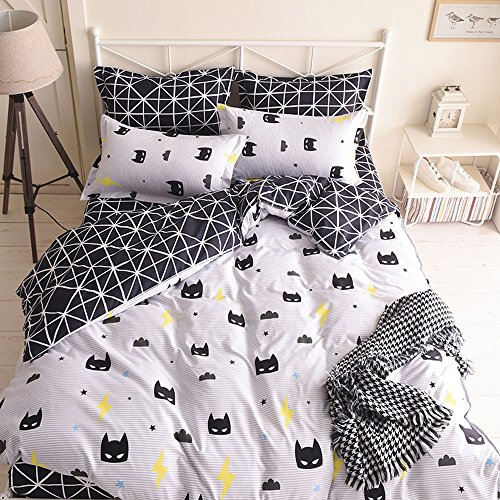 Duvet Covers Pillowcase (Nattey Black Bed Pillowcase Duvet Cover Quilt Cover Set (Twin))
