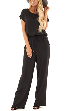 c0e0680a0a Amazon.com  NuoReel Womens Casual Short Sleeve Jumpsuit Loose Wide Leg  Romper Pants with Pockets Black Large  Clothing