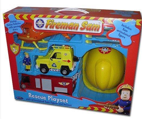 Fireman Sam Friction Jupiter Fire Engine Rescue Playset Includes Jupiter, Helicopter, Rescue Vehicle, Sam Figure and Helmet