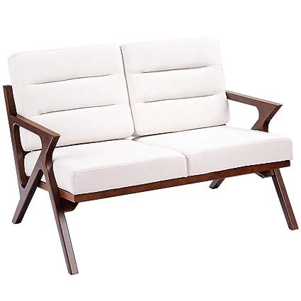 Amazon.com : Beige Fabric Loveseat Armchair Upholstered ...