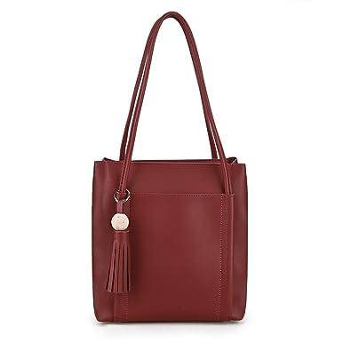 9963bf812 Susen Women s Tassel Tote Faux Leather Shoulder Bag (Maroon)  Amazon ...