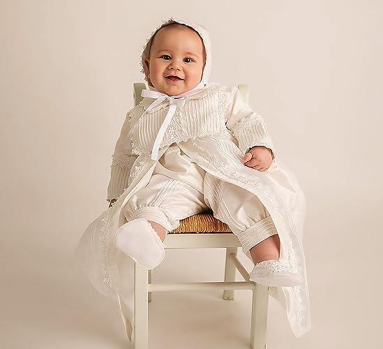 979afdba2 Amazon.com: Christening Gown Burbvus B002 | Baby Boy Baptism Outfit |  Handmade | 100% Silk White or Ivory: Handmade