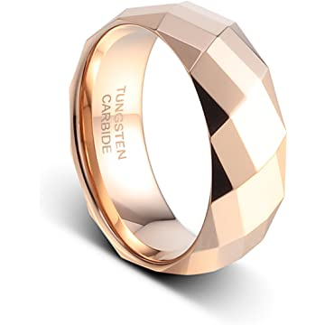TUSEN JEWELRY 8mm Wedding Bands Rose Gold Plated on The Polished Facet Cut Shiny Tungsten Mens Ring