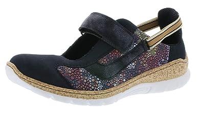 competitive price separation shoes coupon codes Rieker Damen Slipper Blau/Mehfarbig