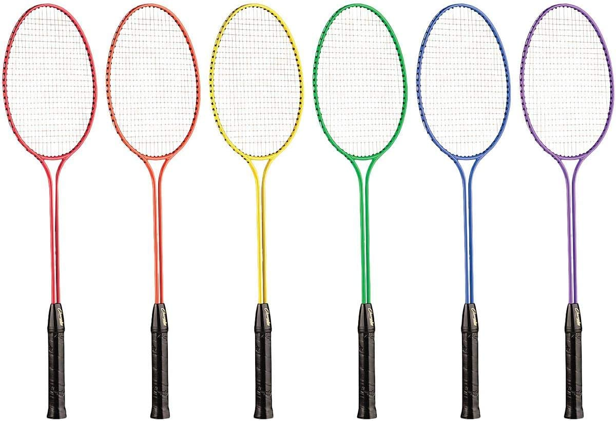 Champion Sports Tempered Steel Twin Shaft Badminton Rackets Set of 6 : Sports & Outdoors