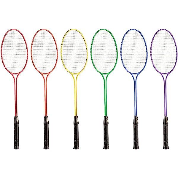 6 Pack Outdoor Badminton Game Racquet Twin Athletes Serve Steel Head Twin Shaft