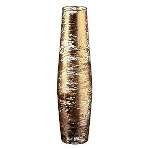"""Vase, Vase à fleurs, Vase en verre, Collection """"GOLDEN DUST"""", or / transparent, 35 cm, fait à la main (AMARA DESIGN powered by CRISTALICA)"""
