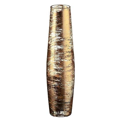 "Vase, Flower vase, Glass vase, Collection ""GOLDEN DUST"", gold/transparent, 35 cm, handmade (AMARA DESIGN powered by CRISTALICA)"