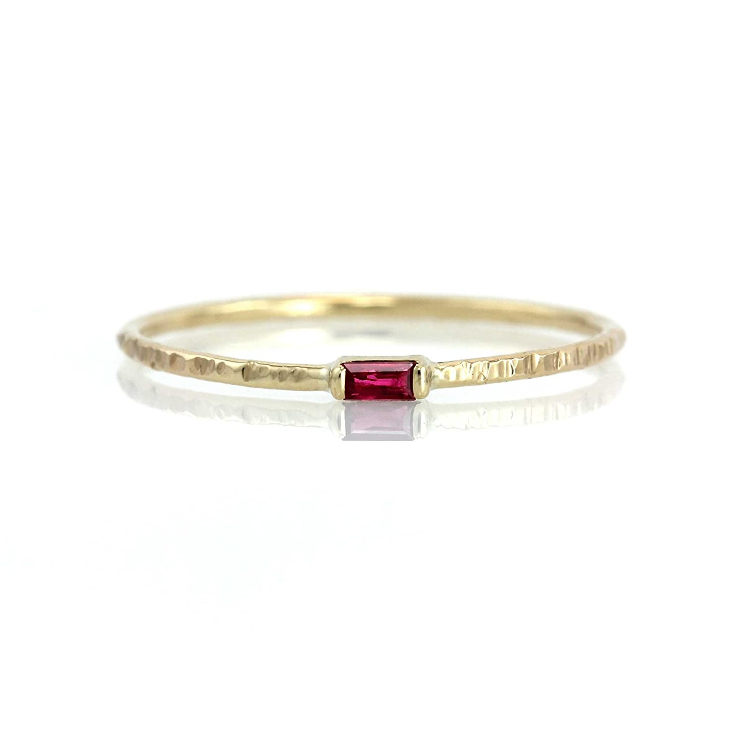 Amazon Com Petite Baguette Ruby Hammer Texture Ring Solid 14k