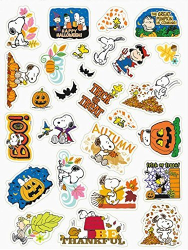 Current Peanuts Snoopy Fall, Halloween & Thanksgiving Stickers ~ Be Thankful, Leaf Pile Play, Boo! (27 Stickers; 1-1)]()