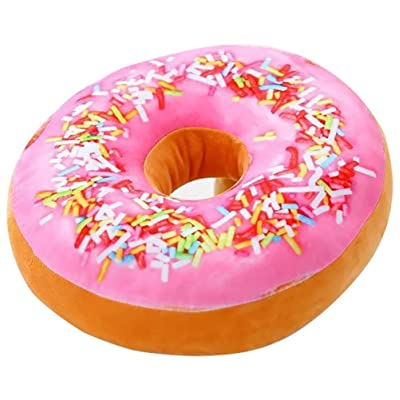 ChezMax Round Doughnut Donut Seat Back Stuffed Cushion Insert Filler Filling Throw Pillow Plush Play Toy Doll for Drawing Living Dinning Family Room Pink Icing Sugar 16 X 16'': Home & Kitchen
