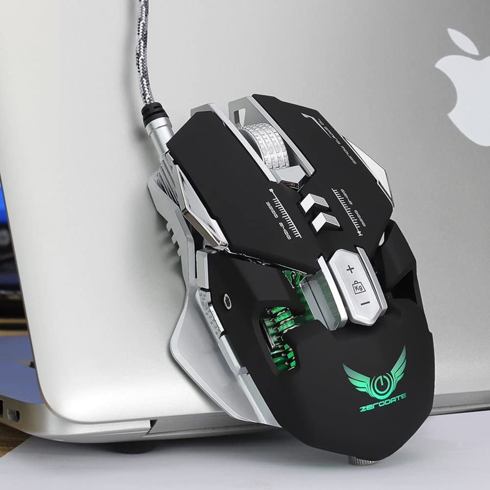 Saalising Gaming Mouse 7 Programmable Buttons , 12 Adjustable DPI Levels/&LED Light Computer Mouse Color : Silver
