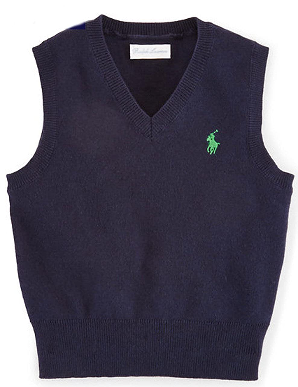 3bae937ff Amazon.com: Polo Ralph Lauren Baby Boys' Cotton V-Neck Sweater Vest Hunter  Navy (3 Months): Clothing