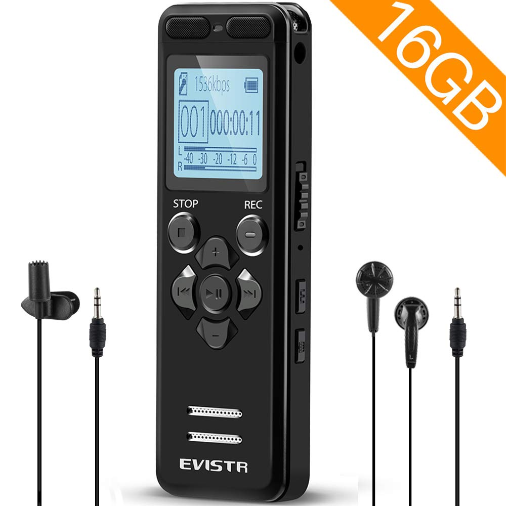 EVISTR 16gb Digital Voice Reorder Line in - Portable Recorders for Lectures Voice Activated Recording Device with Playback, Password, USB Rechargeable by EVISTR (Image #1)