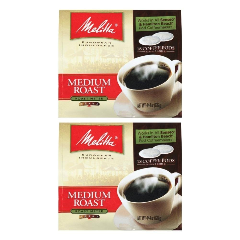Melitta Medium Roast Soft Coffee Pods 18 Count Bag (Pack of 2)