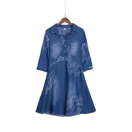 Summer Style Women Denim Dress Women Clothes Vintage Half Sleeve Long Embroidery Slim Dresses Plus Size