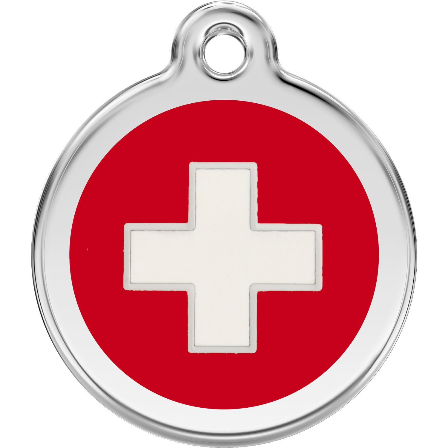 Red Dingo Personalized Swiss Cross Pet ID Dog Tag (Large)