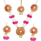 STRIPES Pink Pom Pom And Golden Gotta Necklace set For Girls / Women