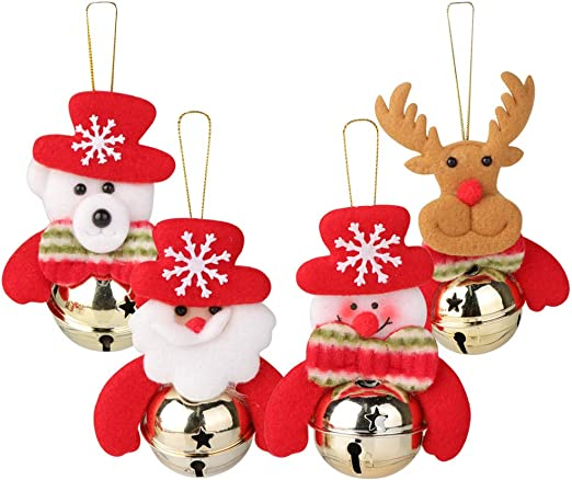 Christmas Santa Claus Bells Tree Hanging Ornaments Home Party Decor Gift Kid Toy