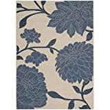 Safavieh Courtyard Collection CY7321-233A2 Beige and Blue Indoor/ Outdoor Area Rug (4′ x 5'7″) For Sale