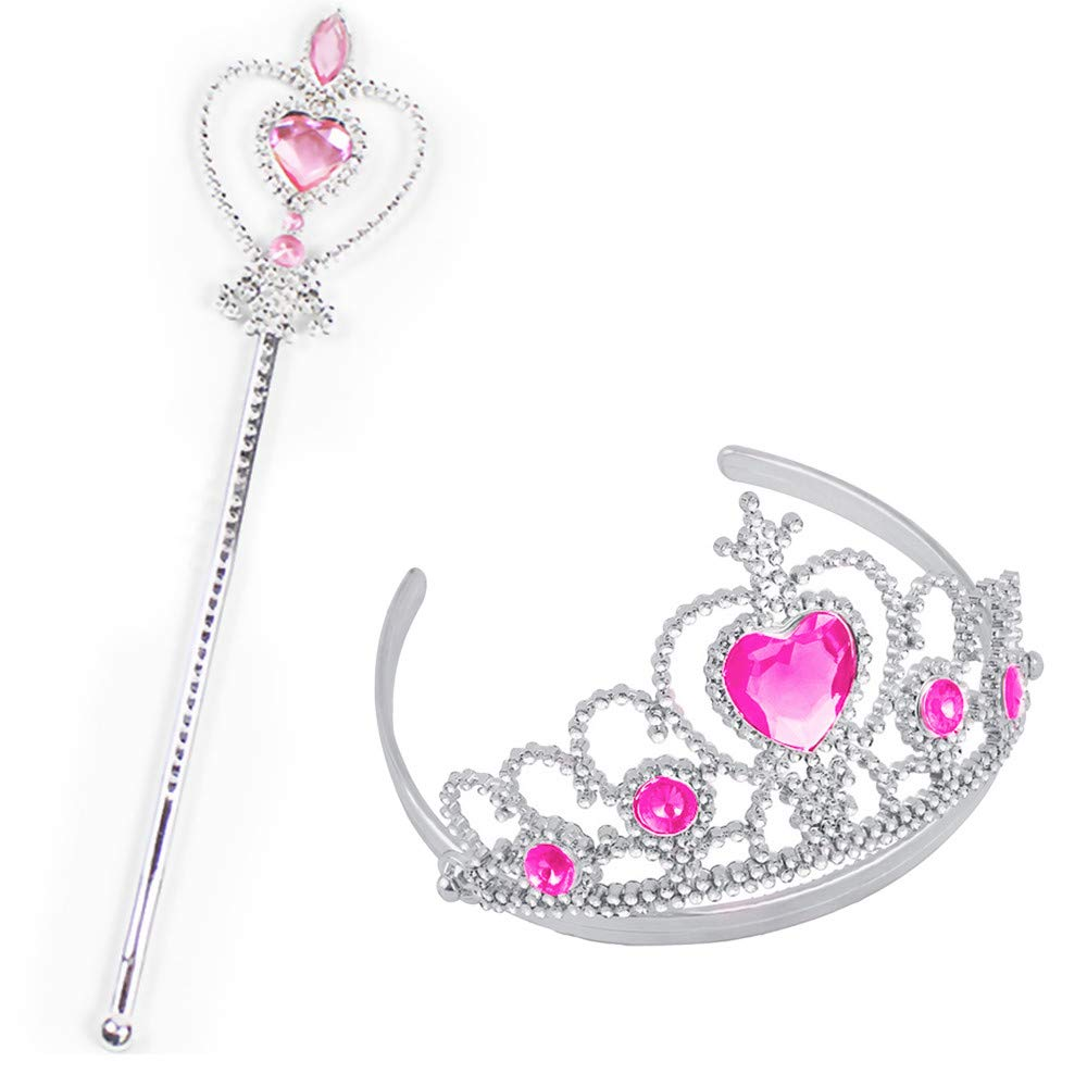 WeiYun Funny Party Hats Princess Accessories - Queen Princess Crown+Snowflake Wand- Crystal Tiara - Princess Dress Up for Halloween Cosplay Party Gifts,1 Set(Pink)
