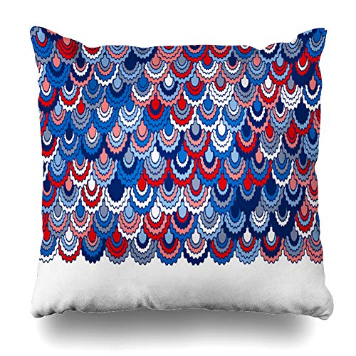 - Ahawoso Throw Pillow Cover Motif Blue Colors Festive American Ribbons Bunting Holidays Indigo Pink Badge Border Curve Floral Home Decor Pillowcase Square Size 16 x 16 Inches Zippered Cushion Case