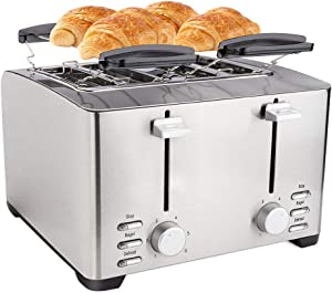 Schloß 4-Slice Toaster Extra-Wide Slot Stainless Steel Toaster with 2 Bun Warmers Racks, 6 Toasting Bread Shade Settings, Dual Control Panels of Stop, Bagel, Defrost Functions, small (THT-3012D)