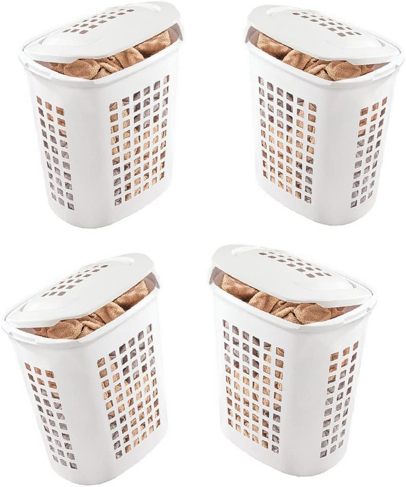 Extra Large Laundry Basket with Lid 4 Pack X-Large Size 80L Bin Capacity Tall Storage Container Hamper & eBook