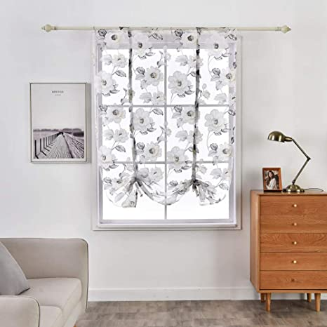 Modern Peony Flower Roman Curtain Window Sheer Curtain Cafe Kitchen Bedroom T