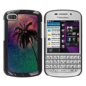 Caucho caso de Shell duro de la cubierta de accesorios de protección BY RAYDREAMMM - BlackBerry Q10 - Stars Purple Miami California