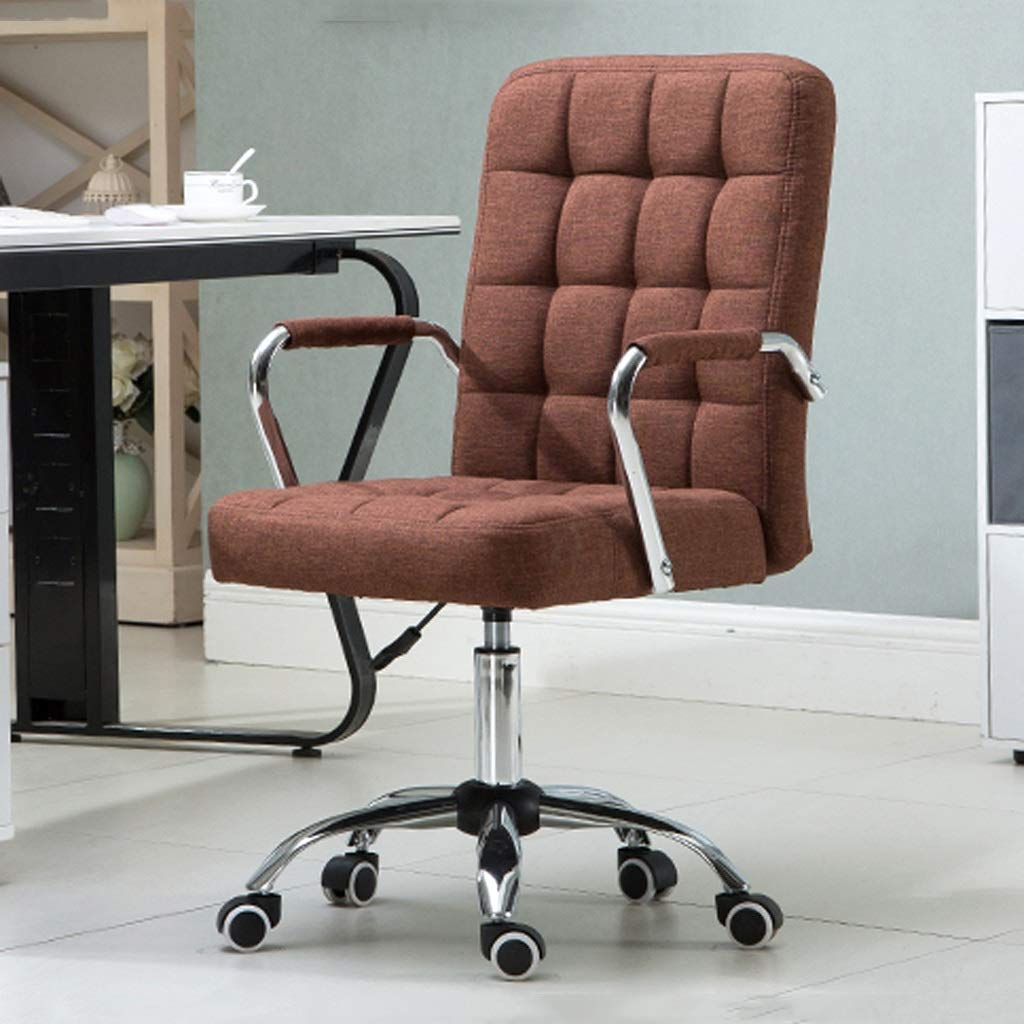 Kontorsstol enkel chef stol kontor svängbar stol lyftbar datorstol elegant hem tyg konferensstol avslappnad fåtölj lindrar trötthet Brun Brun
