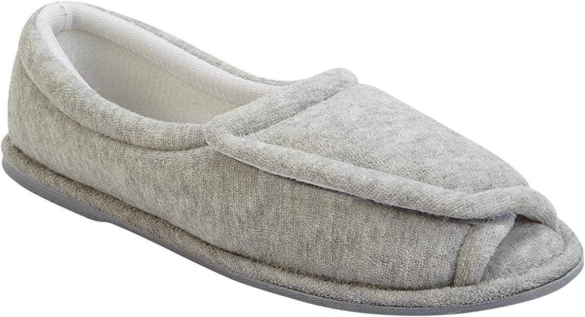 Ladies Womens Wide Fit//Standard Comfort Touch Fastening Floral Full Slippers