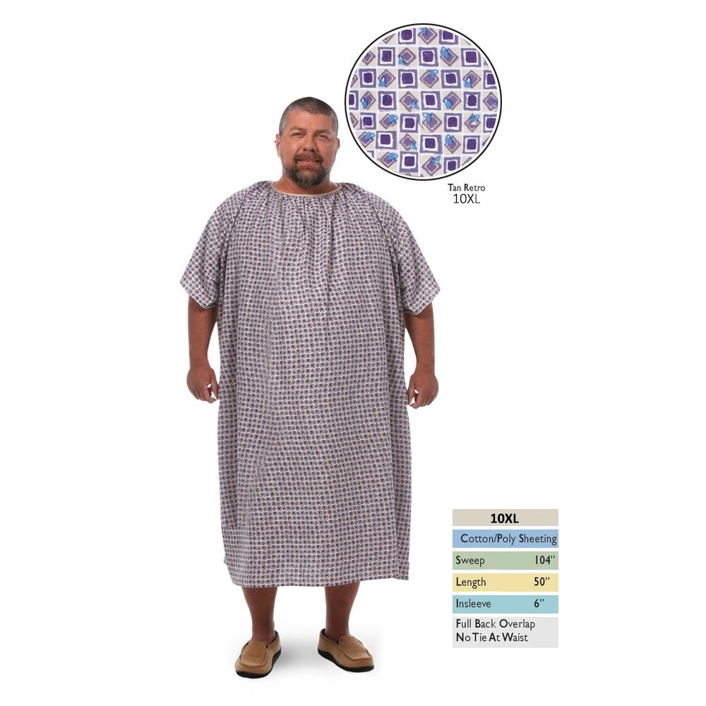 Personal Touch 10XL Bariatric Hospital Gown With Full Back Overlap Closure, Tan Retro Print (10)