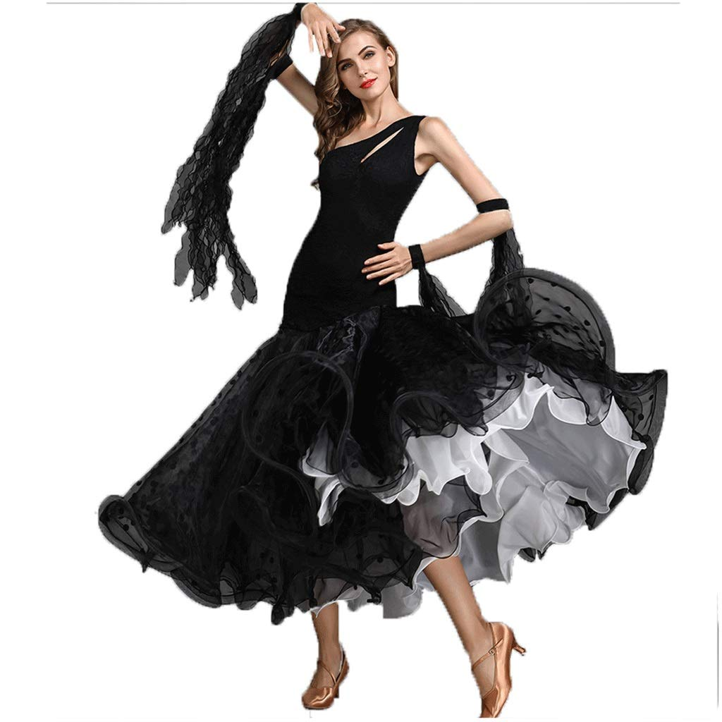 華麗 女性のモダンダンスドレス社交ダンス衣装ドレスコスチューム漏れやすい肩ノースリーブビッグスイングスカート M B07Q5F8Y2Y ブラック M ブラック B07Q5F8Y2Y m, ウエストハウスギャラリー:b0894c85 --- a0267596.xsph.ru