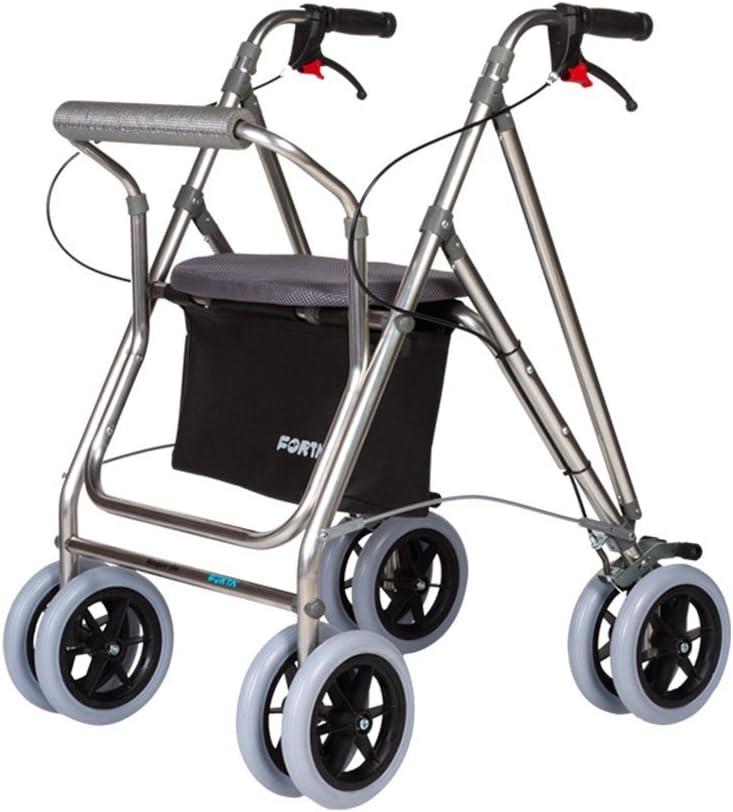 Andador para ancianos   Rollator de aluminio   Andador on frenos y asiento   De aluminio plegable   Color gris