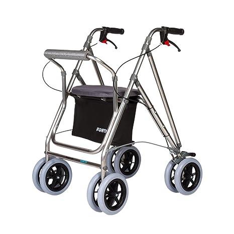 Andador para ancianos | Rollator de aluminio | Andador on frenos y asiento | De aluminio plegable | Color gris