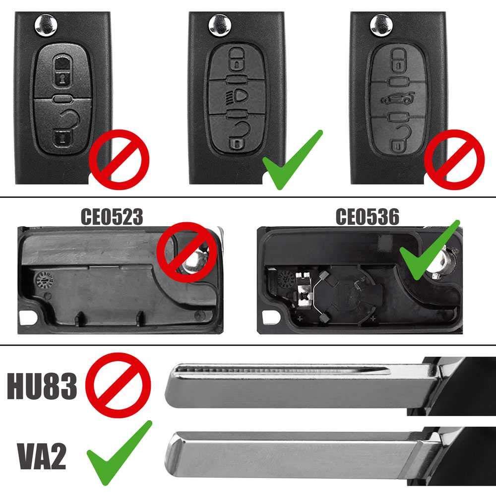 Carcasa Llave Mando de 3 Botones Maletero CE0523 HU83 para Peugeot 206 207 306 307 308 407 607 806 Citroen C2 C3 C4 C5 C6