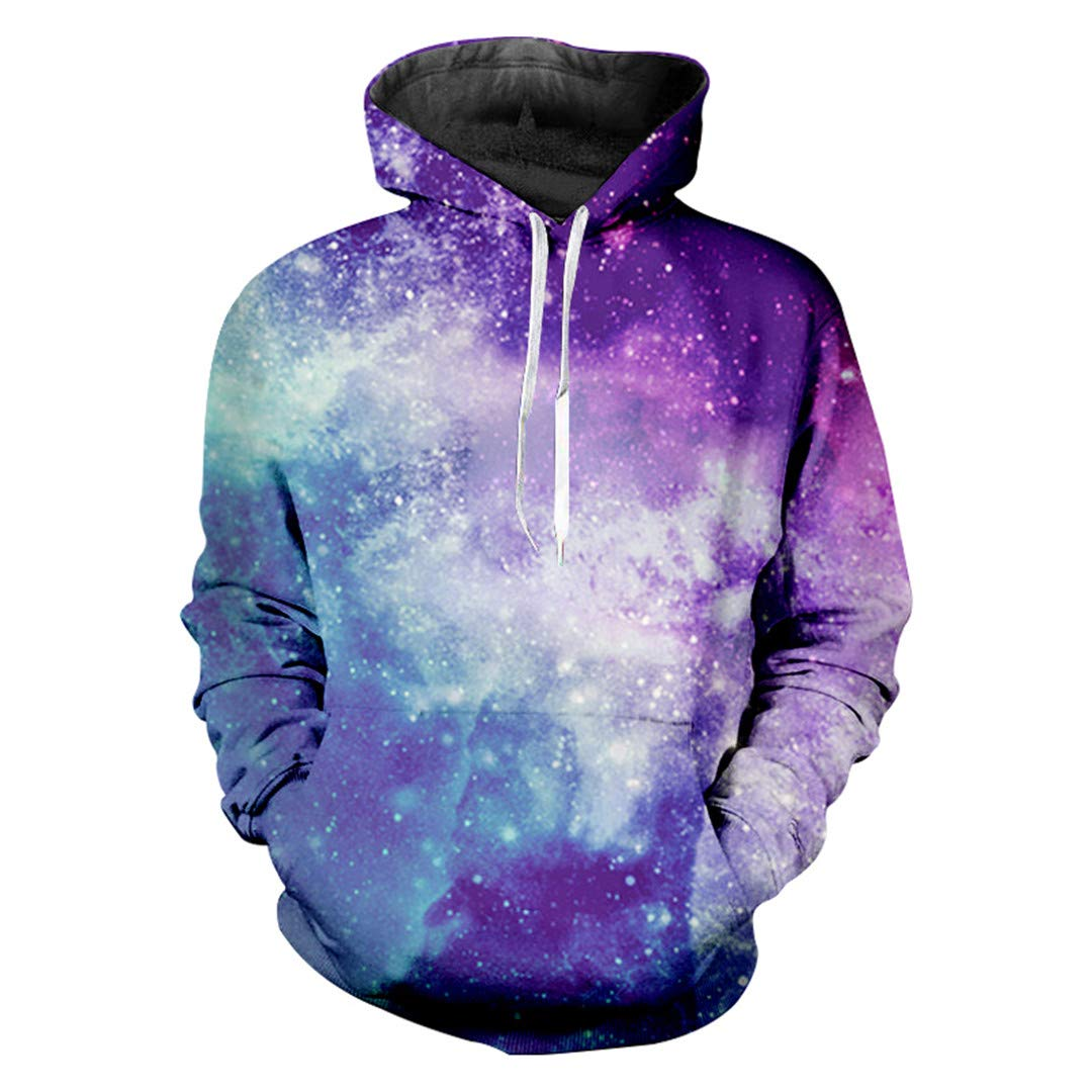 Man Hooded Colorful 3D Pullover Print Blue Star Sky Leisure Big Size Attire Homme Sweatshirts