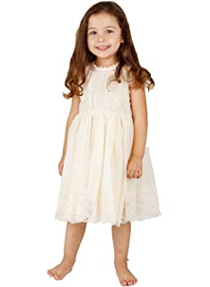 46b5685bbc4 Amazon.com  Shop Ginger Wedding Ivory Flower Girl Lace Dress Bow ...