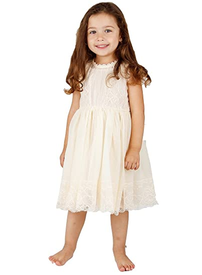 dcd722683fa13 Bow Dream Ivory Off White Lace Vintage Flower Girl's Dress