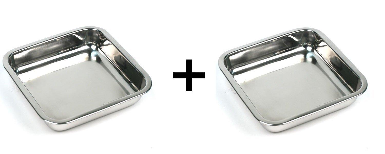 Happy Sales HSSSP-SQ2, 8-Inch Stainless Steel Cake Square Pan Set of 2 by Happy Sales