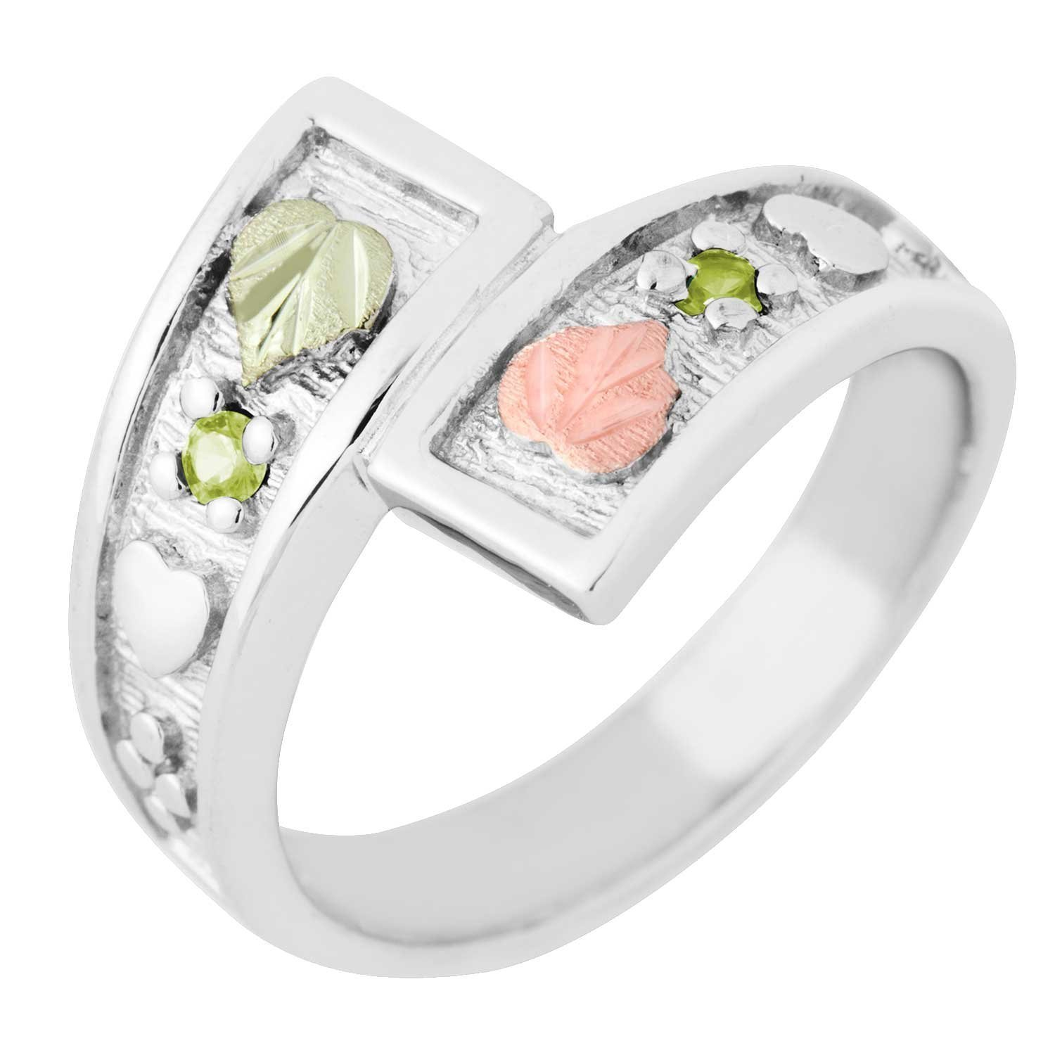August Birthstone Created Soude Peridot Bypass Ring, Sterling Silver, 12k Green and Rose Gold Black Hills Silver Motif, Size 6.5