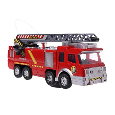 Fmingdou Spray Water Truck Toy Fireman Fire Truck Car Music Light Educational Toys Boy Kids Toy Gift: Toys & Games