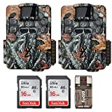 Two Browning Strike Force Pro XD Dual Lens 24MP Trail/Game Cameras with 2 16GB Cards and Focus USB Reader