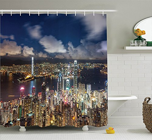 fabric-shower-curtain-set-night-view-hong-kong-victoria-harbor-business-financial-district-cityscape