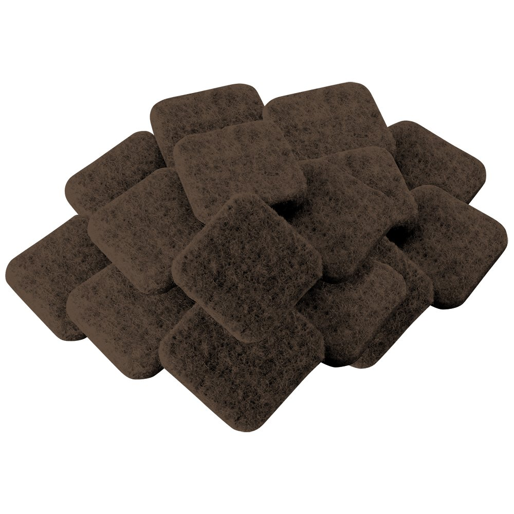 SuperSliders 4727495N Self-Stick Square Felt Furniture Pads for Hardwood Floor Protection, 1 Inch, Brown